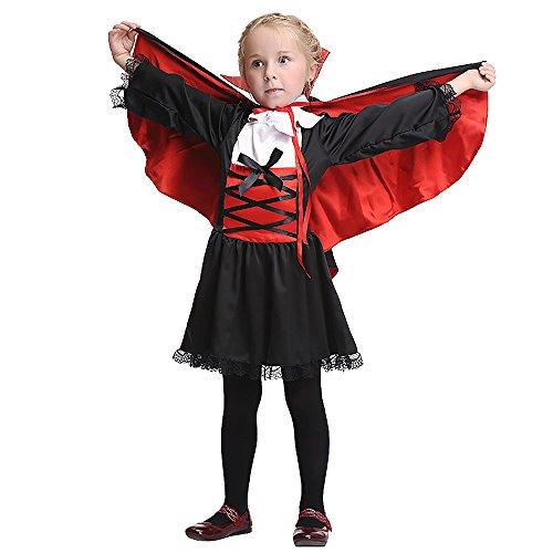 FIZZENN Disfraz de Reina Vampiro para niña Niños Halloween - Disfraz Disfraz Niño Niñas Vestido y Capa y Cuello,M(105cm~115cm)