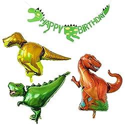 PuTwo Globos 4 Piezas 3 Foil Globos Cumpleaños Dinosaurios & 1 Pancarta Feliz Cumpleaños Dinosaurios Globos de Helio Decoración Dinosaurios para Fiesta Cumpleaños Niño Fiesta -Rojos & Amarillo & Verde