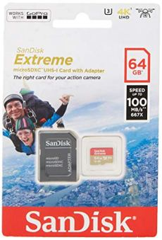SanDisk Extreme - Tarjeta de Memoria 64GB microSDHC para móvil, Tablets y cámaras MIL + Adaptador SD + Rescue Pro Deluxe, Velocidad de Lectura hasta 100 MB/s, Velocidad de Escritura hasta 60 MB/s