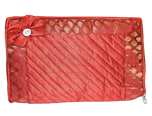 LOOMANTHA miles to go.... Pack of 1 Satin Jewellery Pouch, Travel Organizer, Makeup Kit Cover (Red)