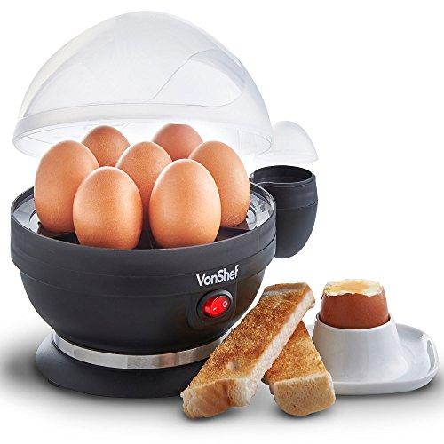 VonShef Cuociuova Elettrico per 7 uova con funzione di cottura a vapore per le verdure