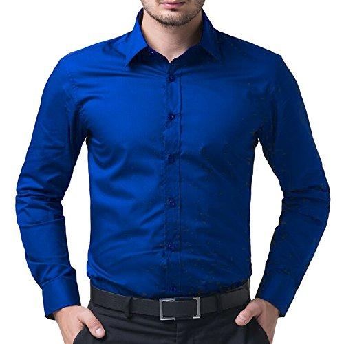 Being Fab Men's Cotton Shirt (BFRYBLUESHT02-40-Royal Blue)