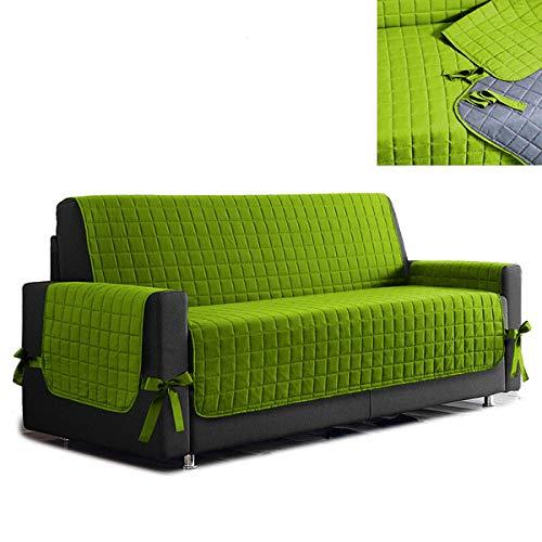 la biancheria di casa Simplicity Copri Salva Divano Bicolore (2 posti Maxi, Verde Mela - Grigio)