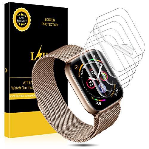 L K 6 Pezzi Pellicola per Apple Watch (Serie 42mm 3/2/1 44mm Series 4 Compatibile), Wet Applied Pellicola Protettiva in TPU [Bubble-Free-Riutilizzabile] [qualità Premium] HD Clear Pellicola