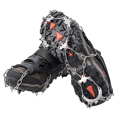 Crampones AUHIKE 18 de Dientes y Garras l Cubierta antideslizante de zapatos para nieve y hielo, con cadena de acero inoxidable (L)