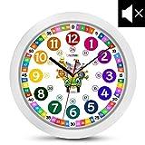 Reloj de pared para niños colorido con diseño de animales y mecanismo silencioso de ONETIME, para aprender las horas, 30,5 cm de diámetro