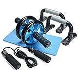 3 en 1 Roue Abdominal - Rouleaux d'Entraînement 3 Roues Gommées + Protection des Genoux Kit complet pour Fitness, Exercices, Musculation (bleu)