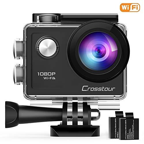 Crosstour Action Sport Cam Wifi 1080P Full HD Unterwasserkamera 2' LCD 170° Weitwinkelobjektiv Helmkamera mit 2 Akkus 1050mAh und Zubehör Kits