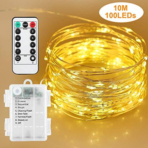 Stringa Luci LED a Batteria con Telecomando, Led Stringa Luminosa 33 ft 100 Leds 8 Modalità Catena...