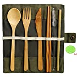 nuoshen Bamboo Cutlery Set, Bamboo Travel Utensils Include Knife Fork Spoon Chopsticks Straws