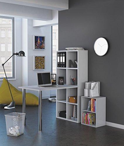Mesa escritorio con estanteria alta. Blanca. De estudio, despacho, ordenador o dormitorio juvenil,