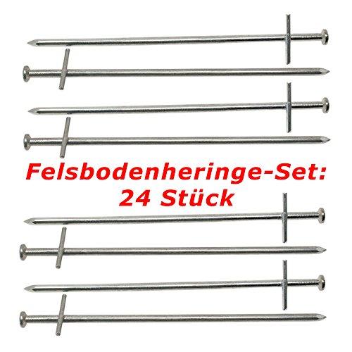 ToCi Felsbodenheringe 23 cm Stahl verzinkt |Zelthering Zeltnagel Erdnagel Felsnagel für harte und steinige Böden |Heringe Set: 24 Stück