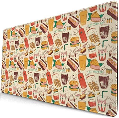 Tappetini per mouse di grandi dimensioni per giochi vintage Fast Food Skull Head Hamburger Mouse Pad...
