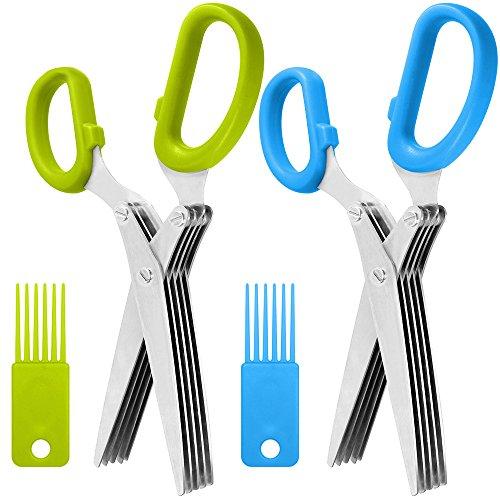 SourceTon - Tijeras de hierbas de acero inoxidable (2 unidades, 5 cuchillas y cepillo de limpieza, diseño ergonómico, cortador de culinaria resistente y duradero con hoja afilada)
