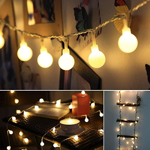 Lucine decorative stringa luci, bianco caldo 40 palle 4.5m/14.8ft, palle/globi calde bianche,...