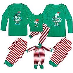 Tianhaik Pijamas de Navidad Familia Manga Larga navideños a Juego para Hombres, Mujeres, niños, bebés, Elfos, Ropa de Dormir, Ropa de Dormir