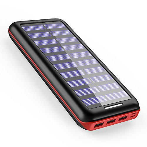 Powerbank AKEEM 22000mAh Solar Ladegerät,Akku mit 3 USB Ausgangen extrem hohe Kapazitat Powerbank für iPhone, iPad, Samsung Galaxy und andere Smartphones (Black-Red(Solar))