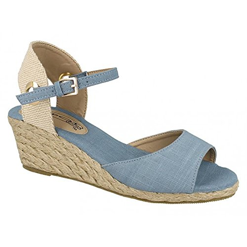 a6ac7fe38086 Spot On Womens Ladies Mid Wedge Espadrille Canvas Summer Shoes ...