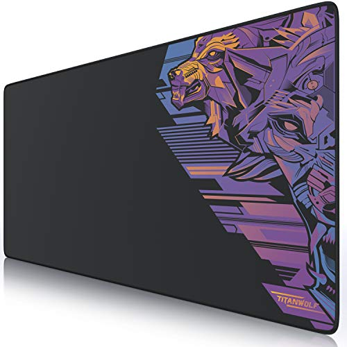 TITANWOLF - XXL Mousepad Gaming 900 x 400mm Vector Retro - Tappetino Mouse Gaming Extra Grade -...