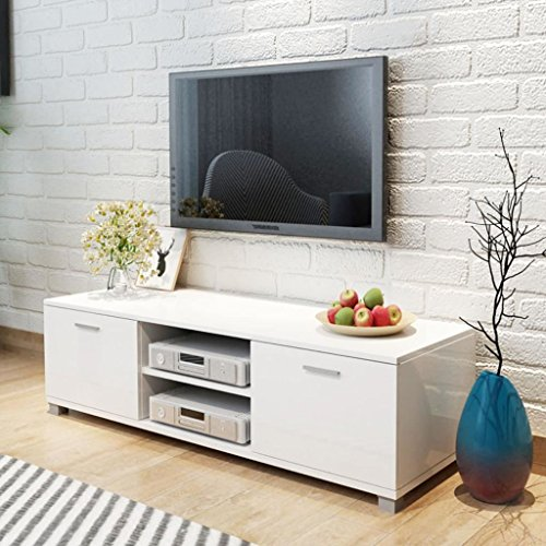 vidaXL Mobile TV Bianco Laccato Lucido 120x40,3x34,7 cm