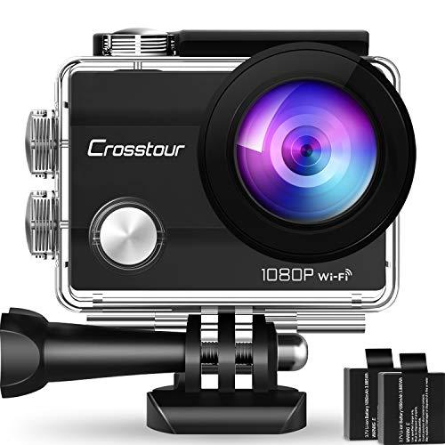 """Crosstour Action Sport Cam Wifi 1080P Full HD Unterwasserkamera 2\"""" LCD 170° Weitwinkelobjektiv Helmkamera mit 2 Akkus 1050mAh und Zubehör Kits"""