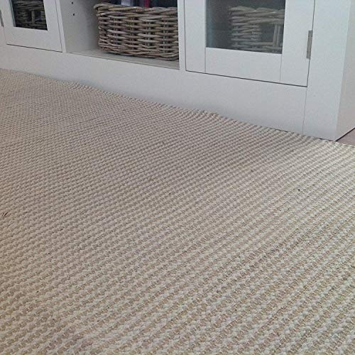 Tappeto in cotone naturale e iuta beige a strisce color crema chiaro, 70cm x 130cm (Second...