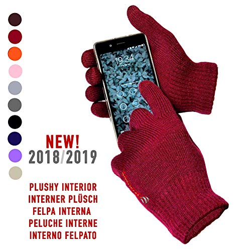 Guanti Touch Screen Capacitivi Per Smartphone - Universali Unisex - Rosso Scuro Bordeaux Granata