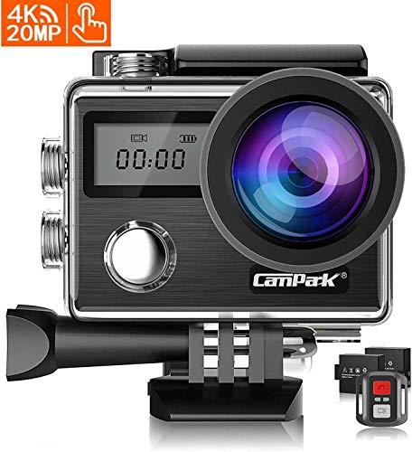 Campark X20 Action Cam 4K WiFi 20MP Doppio Schermo LCD EIS Stabilizzazione 40M Impermeabile Fotocamera Subacquea con Remote Control 170° Grandangolare Due 1050mAh Batterie e Il Kit Accessori