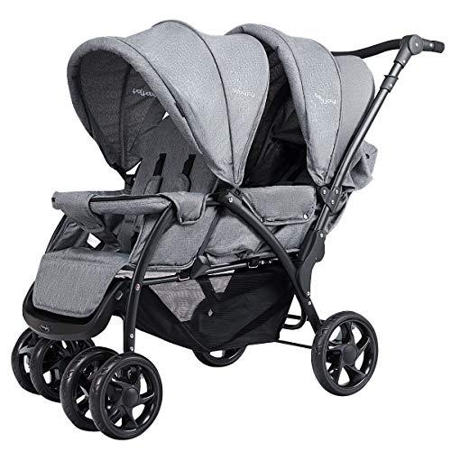 GOPLUS Zwillingswagen Geschwisterwagen Kinderbuggy Buggy doppel Kinderwagen Babybuggy Babywagen grau klappbar ab 6 Monate