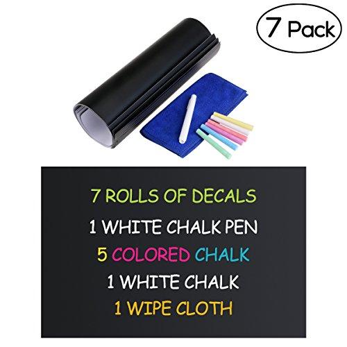NUOLUX - Kit lavagne nere adesive in ardesia, rimovibili, da parete, 30x 45cm, 7 pz., con 2...