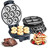 VonShef 3 in 1 Waffle, Brownie & Mini Doughnut Snack Maker with Interchangeable Non-Stick Plates, Cool Touch Body and Matte Black Design – 700W