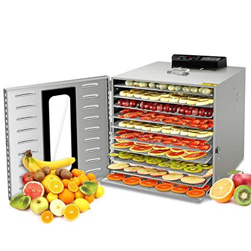 GCSJ Aggiornamento!! Essiccatore Frutta e Verdura 10 Piani, 24 ore Timer, 30-90°C Temperatura...