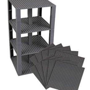 Strictly Briks Pack de 10 Bases con 80 Ladrillos separadores 2 x 2 - Construcción en Forma de Torre - Compatible con Todas Las Marcas - Gris carbón - 15,24 x 15,24 cm
