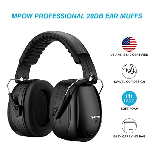 Mpow Noise Reduction Safety Earmuff, SNR 34dB Shooting Hunting Ear Muffs, Professional Hearing Protection with a Carrying Bag, Adjustable Folding Ear Defenders Fits Adults to Kids for Shooting Range