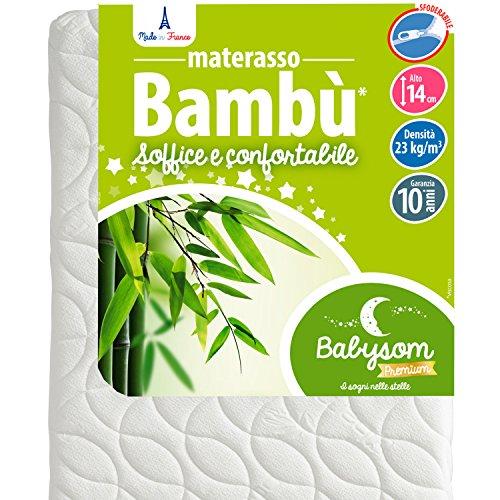 Babysom - Materasso Lettino Bambino | Per Neonato - Bambù Naturale - 60 x 120 cm - Altezza 14cm -...