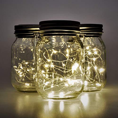 Gadgy ® Solarglas Einmachglas Set Fairy Lights Klein| (3 Stück) USB Wiederaudladbar | Mit USB Kabel | 20 Warmweiße LED\'s | Solar Licht Glas Lampe Außen Garten Laterne