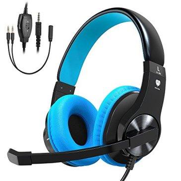 Casque Gaming pour PS4 Xbox One, Babacom Micro Casque Gamer Stéréo Anti-bruit Basse avec LED, Contrôle du Volume, Réglable pour PC, Nintendo Switch, PC Portable, Idée Cadeau (Bleu)