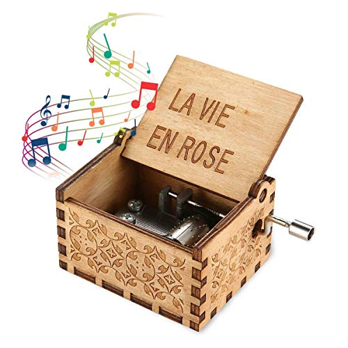 Womdee Music Box La Vie En Rose Theme, Wooden Classic Music Box Crafts with Hand Crank, 18 Note Mechanism Antique Carved Musical Box Gifts for Kids/Freinds/Adults