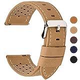 Fullmosa 5 colori per cinturino di ricambio, Breeze cinturino in pelle per orologio da donna e uomo,adatto a orologio tradizionali e smart watch di18mm,20mm,22mm o 24mm,18mm Cachi