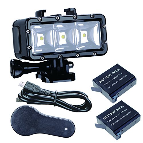 Suptig Faro impermeabile a LED ad alta potenza, dimmerabile, per vide, luce notturna, luce subacquea, per GoPro Hero 6,Hero 5,Hero 4,Hero 3+, Hero 3 SJCAM o Xiaoyi