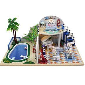 tytlmodel Casa De Muñecas Clear Summer Villas, Miniatura Hecha A Mano con Muebles, Juguetes De Casa De Muñecas Diminutos Modelo De Madera DIY, (32X21X14.5Cm)