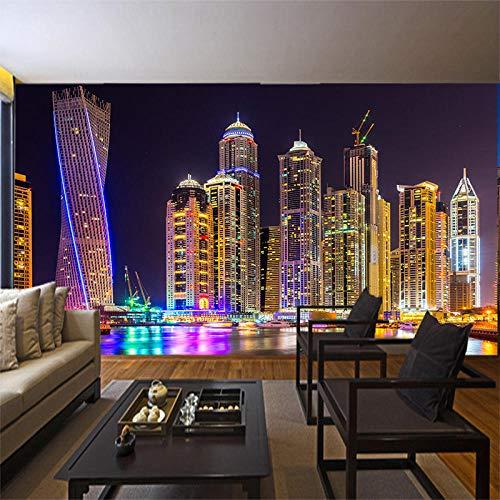 HHZZHZ Bella Dubai Night City Urban Wallpaper Grande murale Soggiorno TV Ristorante Comodino...