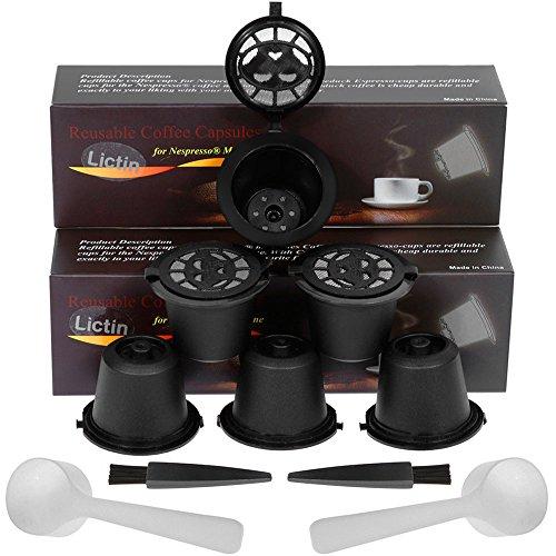 Lictin Capsule per Caffè Ricaricabili per Nespresso, 6 Tazze +2 Cucchiaio di Plastica +2 Spazzola i...
