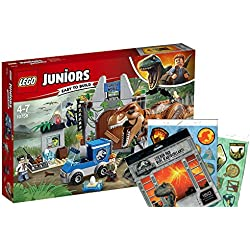 LEGO Juniors 10758–Huida del Tyrannosaurus Rex + Jurassic World Pliego de pegatinas, construcción de juguete