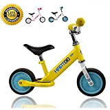 HAPTOO 7 inch Balance Bike, Light No Pedal Walking Bicycle with Aluminum alloy Frame, Adjustable Handlebar and Seat, 80 lbs Capacity for Ages 18 Months to 3 Years, Yellow