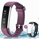 HolyHigh 115U Smart Fitness Band, Waterproof Fitness Tracker Watch for Men Women Kids Step Counter Claroie Counter Messages Call Alarm Reminder Cameral Shoot (Purple+Black)