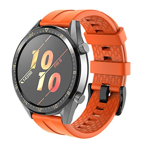 NotoCity Cinturino Compatibile con Huawei GT Watch/Samsung Galaxy S4 46mm Watch/Gear S3 in Silicone Easy Fit 22mm Braccialetto di Ricambio (Orange)
