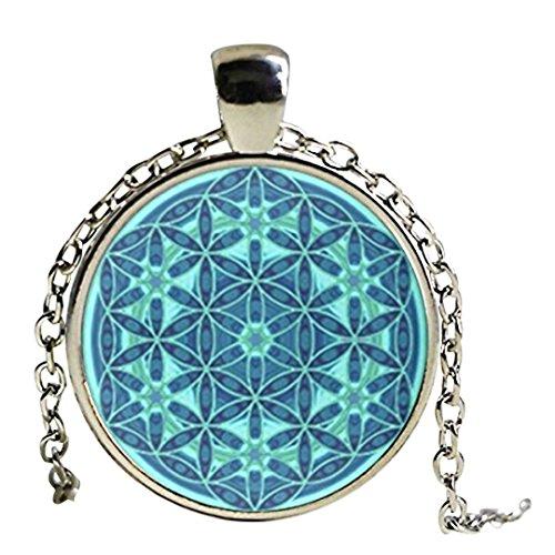 Collar de la flor de la vida colgante de flor de la vida Mandala Jewelry Cúpula de Cristal Colgante Collar
