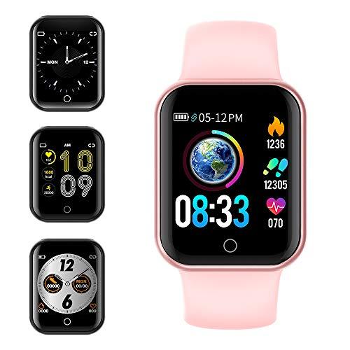 KUNGIX Smartwatch Orologio Fitness Trakcer Pressione Sanguigna Monitor Cardiofrequenzimetro da Polso Bluetooth Smart Watch Schermo a Colori Impermeabile IP68 per Donna Uomo (Rosa)