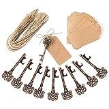 Awtlife - Recordatorios de boda, abrebotellas con forma de llave y etiqueta, ideales para decoración rústica de fiestas (50 unidades)